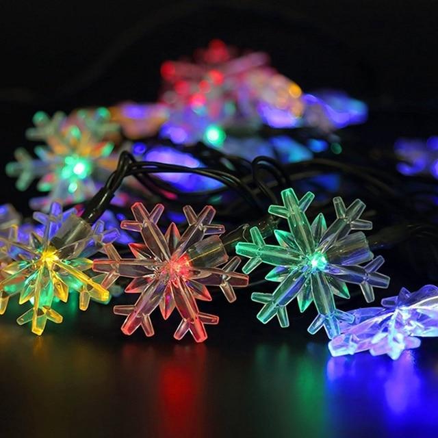 20led luz Solar Luzes De Natal Do Floco De Neve LEVOU Luzes de Fadas String Luzes Do Feriado Festa de Casamento Decoração de Natal