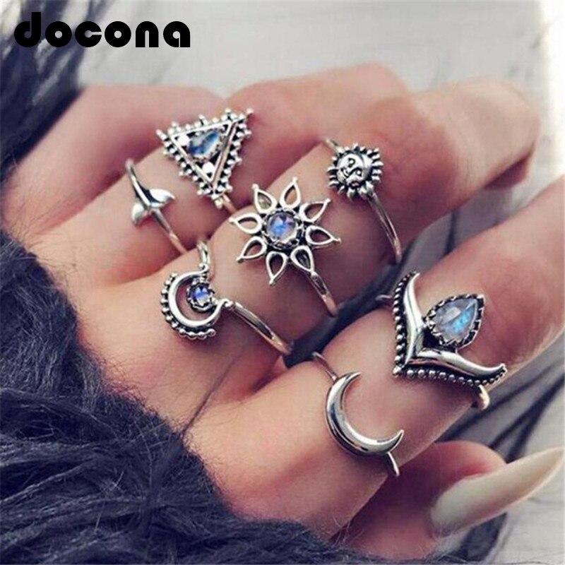 Docona Vintage bleu strass soleil lune Knuckle anneaux ensemble pour femmes fille géométrique Midi anneaux ensemble 7 pièces/1 ensemble Anillos 6756