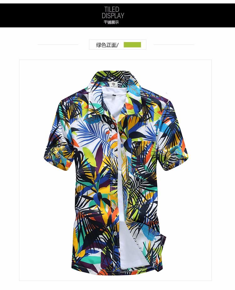 Mens Hawaiian Shirt Male Casual camisa masculina Printed Beach Shirts Short Sleeve brand clothing Free Shipping Asian Size 5XL 12