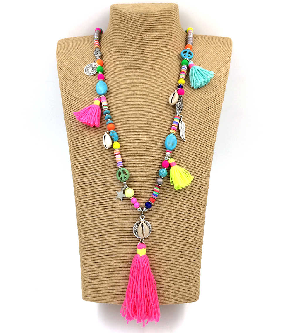 New Handmade Tassel Pendents Necklace Boho Chic Bohemiam Long Statement Necklaces  Rainbow Colorful Beads Chain Necklace