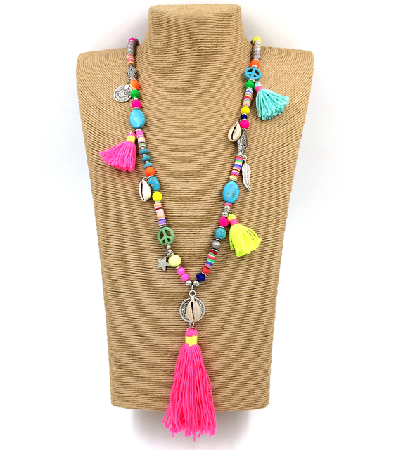 new handmade tassel pendents necklace boho chic bohemiam long