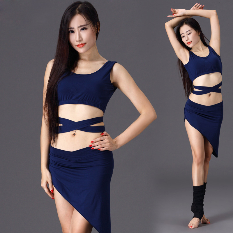 bedb352475a1 NEW STYLES! modal belly dance set women short sleeves top+ skirt ...