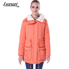 2017 Autumn Winter Jacket Coat Women Parka Solid Fleece Wadded Slim Female Warm Padded long Outerwear Jackets And Coats WS022