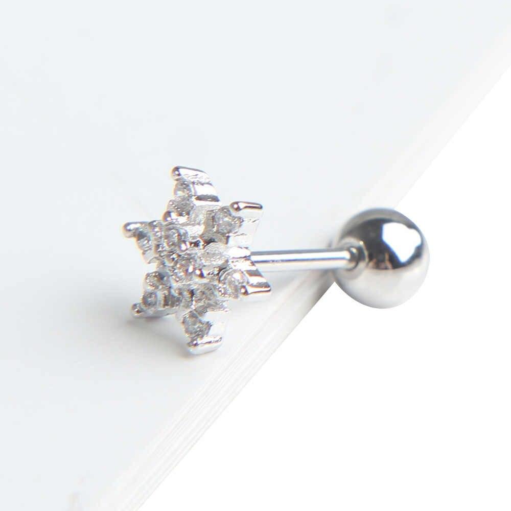 Kryształ śniegu chrząstki ucha Stud Charm śliczne szpilki kolczyk chrząstka skrawka Helix Piercing kolczyk kobiety biżuteria 1 pc
