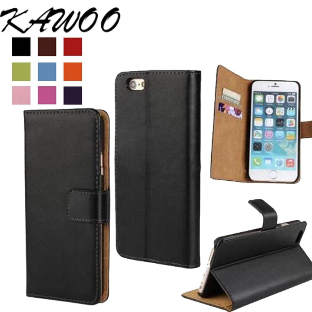 """Nytt 6S / 6S Plus Shell Flip äkta läder plånbokskortsportfodral för iPhone 5 5C 5S SE 6 6S 4.7 """"för iPhone 7 7 Plus väska"""