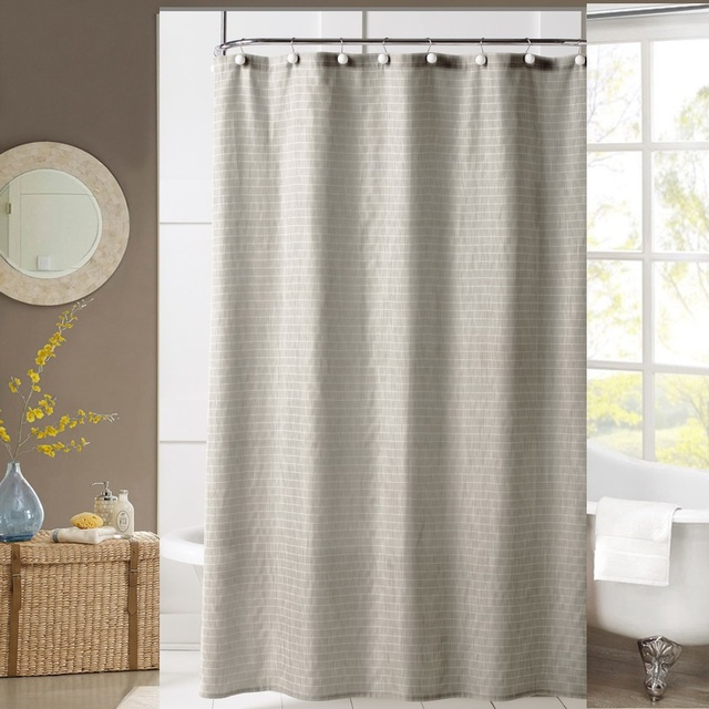 Junwell Polyester Fabric Shower Curtain Dry Hand Poly Linen Textured Bath Washable With Plastic Hooks For The Bathroom