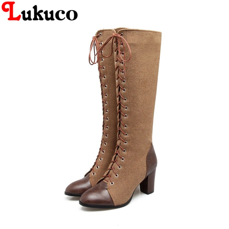 2018 concise lace-up boots large CN size 41 42 43 44 45 46 47 48 round toe design women sexy shoes real pictures free shipping