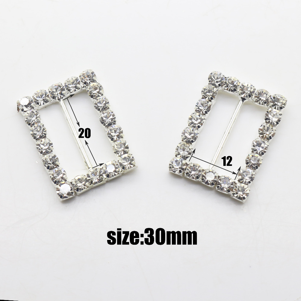 10 pcs / lot 30mm rectangle shape rhinestone buckle slider for ...