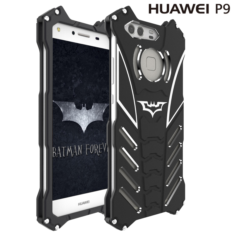 R-JUST For HUAWEI P9 case Armor Heavy Duty Metal Aluminum BATMAN protect Skeleton head phone shell cases cover+BATMAN bracket