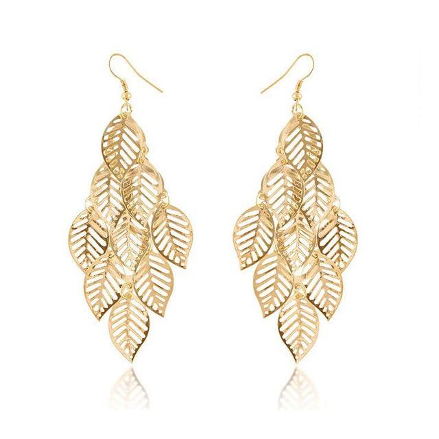 Frauen Blatt Kette Quaste Ohrringe, Metallic Gold Farbe Schmuck ...