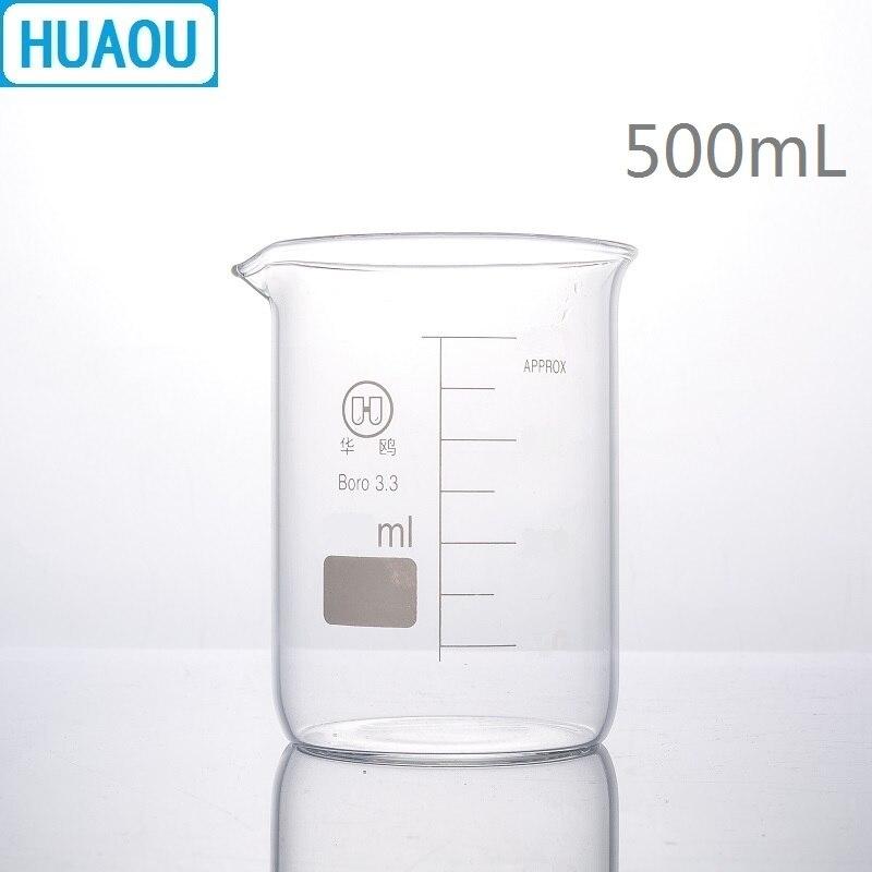 Huaou 500 ml copo de vidro baixo formulário borosilicate 3.3 vidro com graduação e bico copo medição laboratório química equipamentos