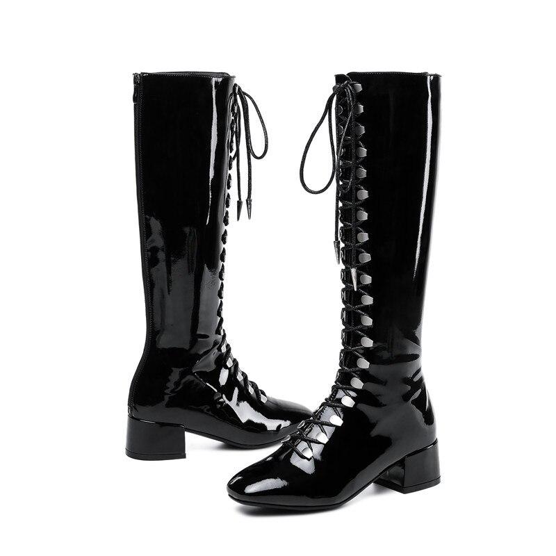 Morazora Dedo Del Moda De Cuero Pie Hasta 2019 Calidad Botas Zapatos Negro Invierno Otoño plata Superior Las Mujer La Cuadrado Cremallera Mujeres Rodilla 7q7P4r