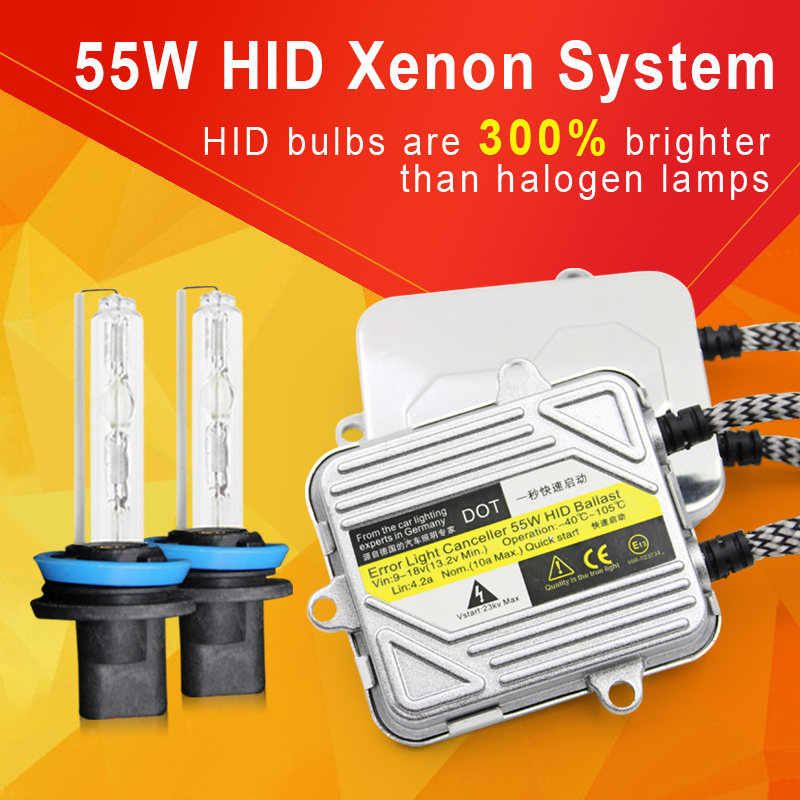 55W H7 Xenon hid kit h1 h11 9005 <font><b>HB4</b></font> Xenon Light <font><b>Bulb</b></font> Car Headlight h3 h4 Slim Ballast kit <font><b>3000K</b></font> 4300K 6000K 8000K 10000K 12000K image