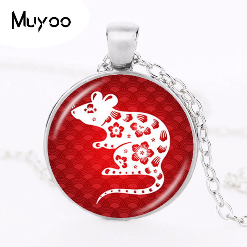 Chinese Zodiac Necklace Year of the Rat Ox Tiger Rabbit Dragon 12 Silver Pendant Charm Accessories Birthd Gifts HZ1