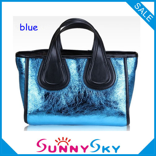 100% True Lether Lady's Shoulder Bag For Woman 2013 Women's Handbags Genuine Leather Bag Red Blue Gold Silver Colors