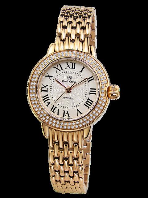 d20f5eb1f2e Royal Crown Jewelry Watch 6119S Italy brand Diamond Japan MIYOTA Rose gold  Fine Fashion Stainless Steel Bracelet Girl Gift