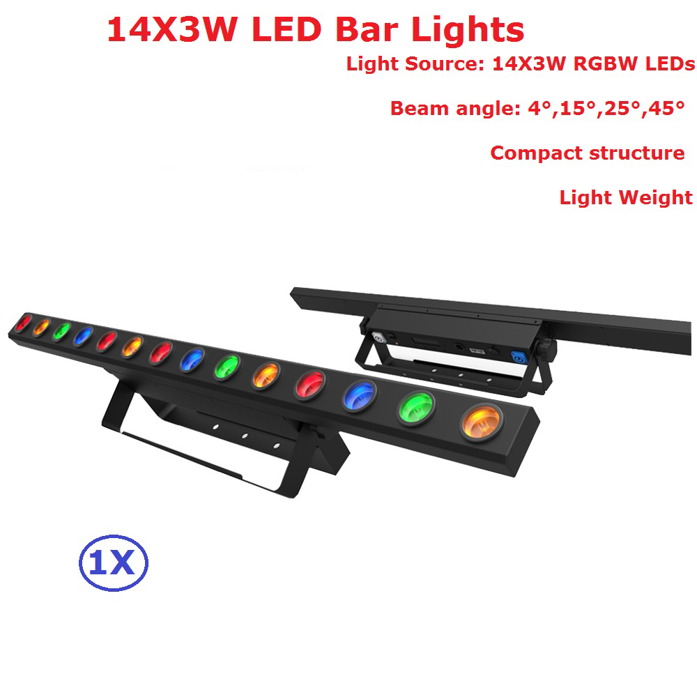 1Pack 14X3W RGBW Quad Color Indoor LED Bar Lights 50W High Brightness LED  Stage Beam Light 100-240V With 4 11 56 DMX Channels d3e7dd3049b6