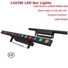 hot deal buy 1pack 14x3w rgbw quad color indoor led bar lights 50w high brightness led stage beam light 100-240v with 4/11/56 dmx channels