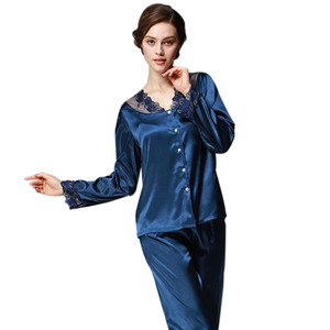 Image 2 - Daeyard נשים משי פיג מה סטי אביב קיץ סתיו נשי תחרה רקום סאטן פיג ארוך שרוול הלבשת Loungewear