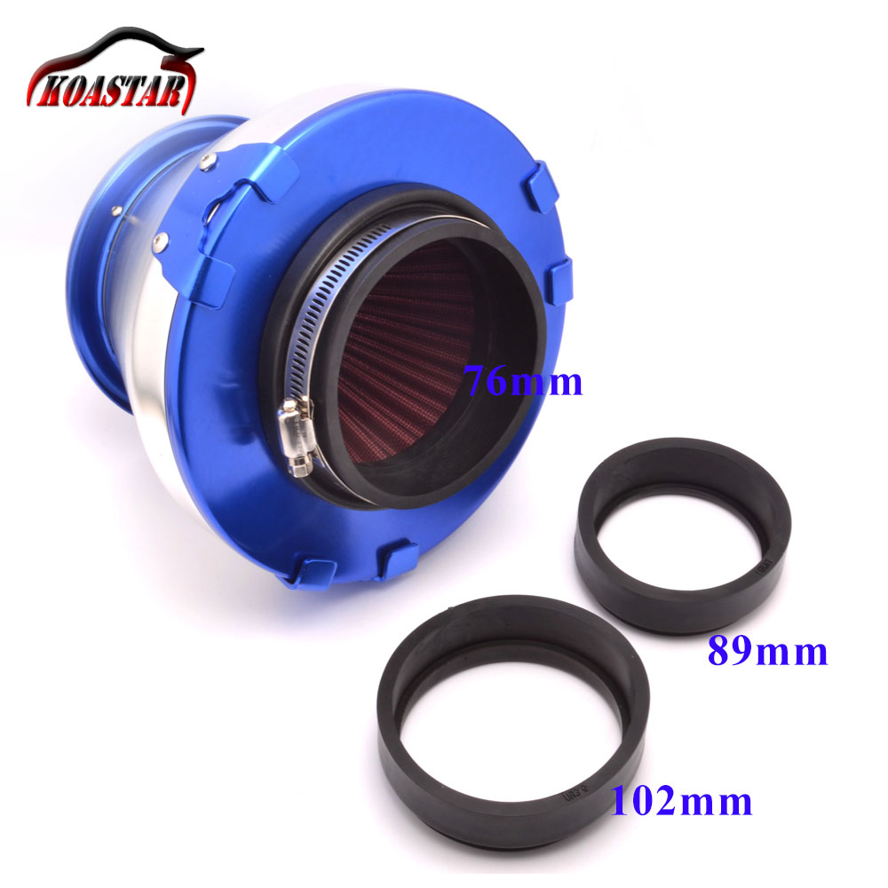 Universal car air filter racing cold air intakes aluminum turbo high flow cone shaped filter with 3 adaptors 76mm 89mm 100mm