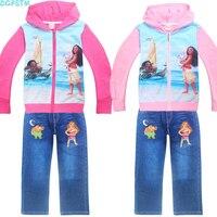 Children S Wear 2017 Autumn Summer Baby Girl Boys Sports Leisure Suit Moana T Shirt Jeans