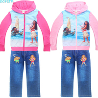 Children S Wear 2017 Autumn Summer Baby Girl Boys Sports Leisure Suit Moana T Shirt Jeans