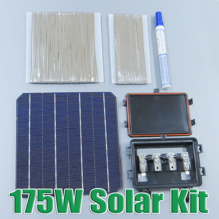 Hot Sale 175W DIY Solar Panel Kit 6x6 156 Mono Monocrystalline solar cell tab wire Bus wire Flux pen Junction Box WY 2016 hot sale 250w solar panel 36v