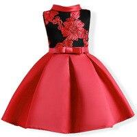 Girls Dress Summer Wedding Dresses Children Bowknot Party Dresses Bridesmaid Dress Red Tutu Princess Custumes