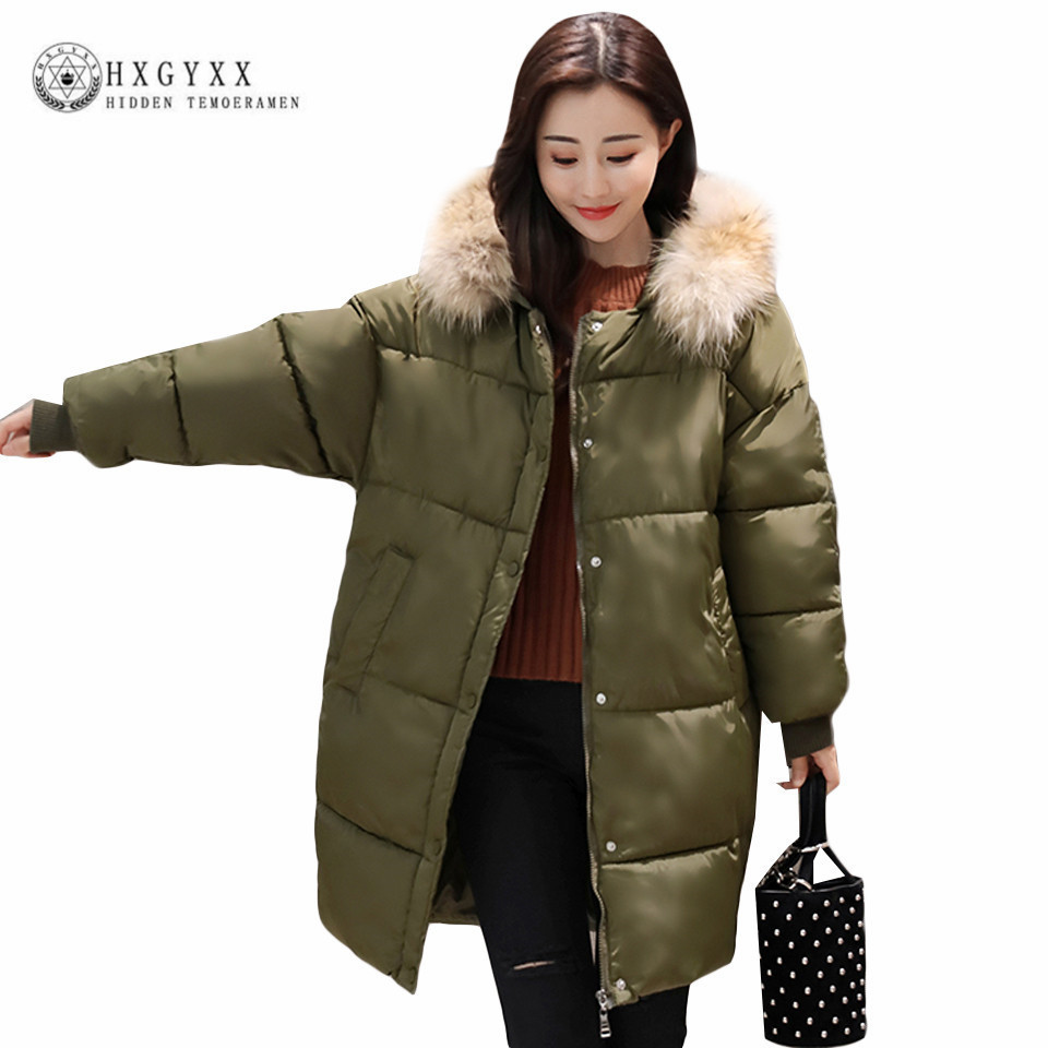 2017 Super Loose Winter Women Coat Fashion Warm Fur Collar Large Size Long Cotton Jacket Thick Warm Hooded Padding Parkas Okb37 2017winter women coat warm fashion large fur collar medium long down cotton jacket coat thick large size hooded coats e8 tnlnzhy