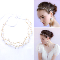 Women Weeding White Bridal Hairbands Jewelry Summer Flower Pearl Hairbands Hair Accessories Headwear Tiaras Crowns Hairbands