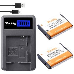 Image 1 - 2x Probty BP 70A BP70A Piller + LCD Şarj Cihazı Samsung ST90 ST95 ST100/150F/700/6500 SL600 /605/630 WB30F 35F 50F ES70 ES80