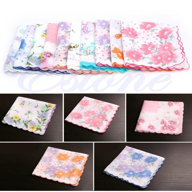 10Pcs Set Ladies Cotton Floral Printed Handkerchiefs