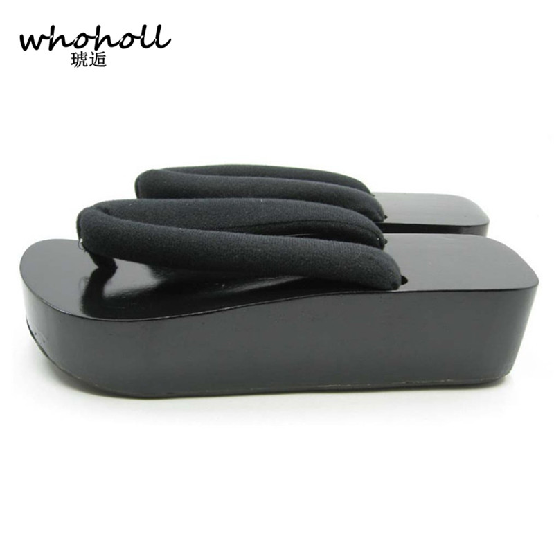 WHOHOLL Man Flip-flops platform 2017 Japanese wooden Geta clogs sandals men Boat Type anime designer male black
