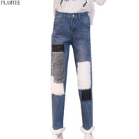 PLAMTEE Street Fashion Patchwork Jeans Women Autumn Winter High Waist Pantalones Mujer Slim Fit Pencil Pants