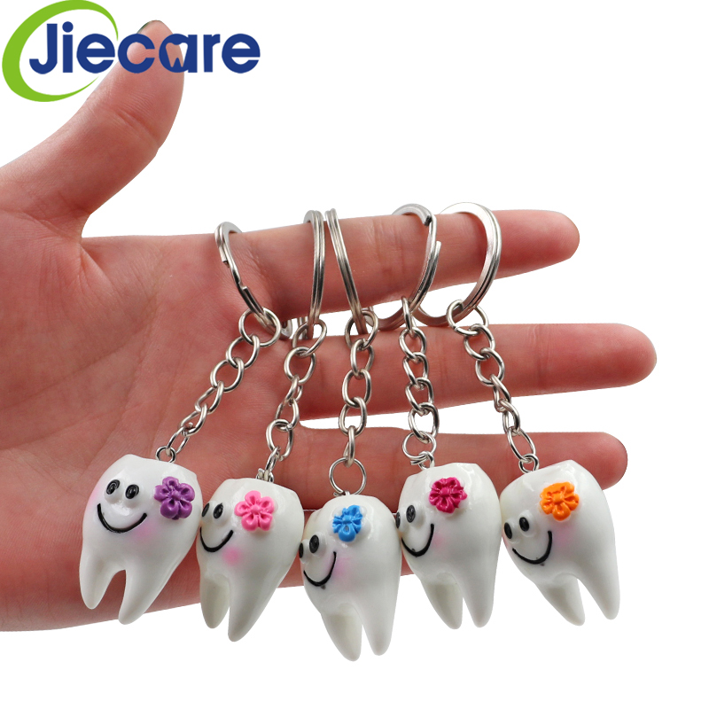 10 Pcs Dental Simulation Tooth Pendant Keychain Lovely Cartoon Dental Decorative Accessories Promotional Gifts Free Shipping