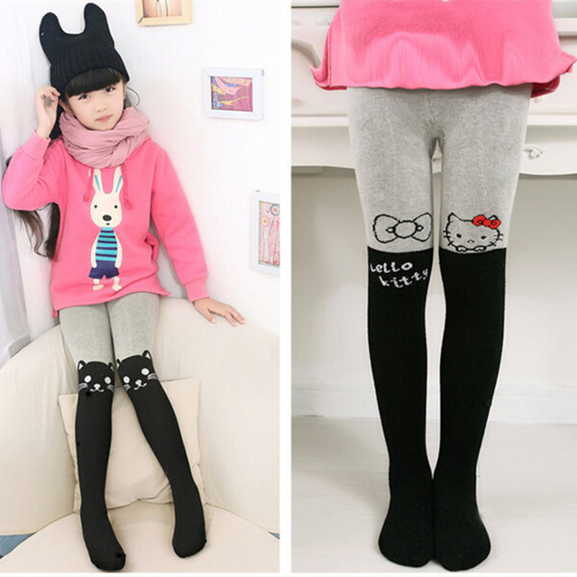 ed4364fbe Children Tight Winter Stockings Thick Tights For Girls Pantyhose Hello Kitty  Cat Cute Cartoon Full Foot Stocking From 2-13T