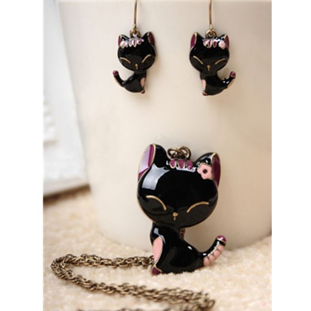 H9 Fashion Animal Cat Jewelry Sets Cute Kitten Pendant Necklace and Drop Earring