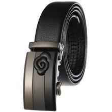 Модный мужской ремень из натуральной кожи черный деловой ремень логотип Автоматическая пряжка