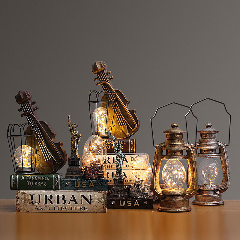 Creative Classic Simulation Kerosene Lamp Retro LED Light Decor For Home Room Decor Bedroom Bedside Lamp Table Light With Music