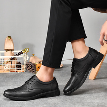 Rommedal latest style genuine leather brogue shoes men comfortable suitable for businessman black brown formal ventilate