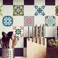 10ピースヴィンテージ正方形自己粘着タイルステッカーデカール家の装飾壁アート卸売送料無料30Raug7 # a10
