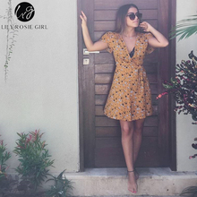 Lily Rosie Girl Women Deep V-neck Sexy Boho Style Summer Party Mini Dress Floral Casual Natural Beach Dresses Vestidos