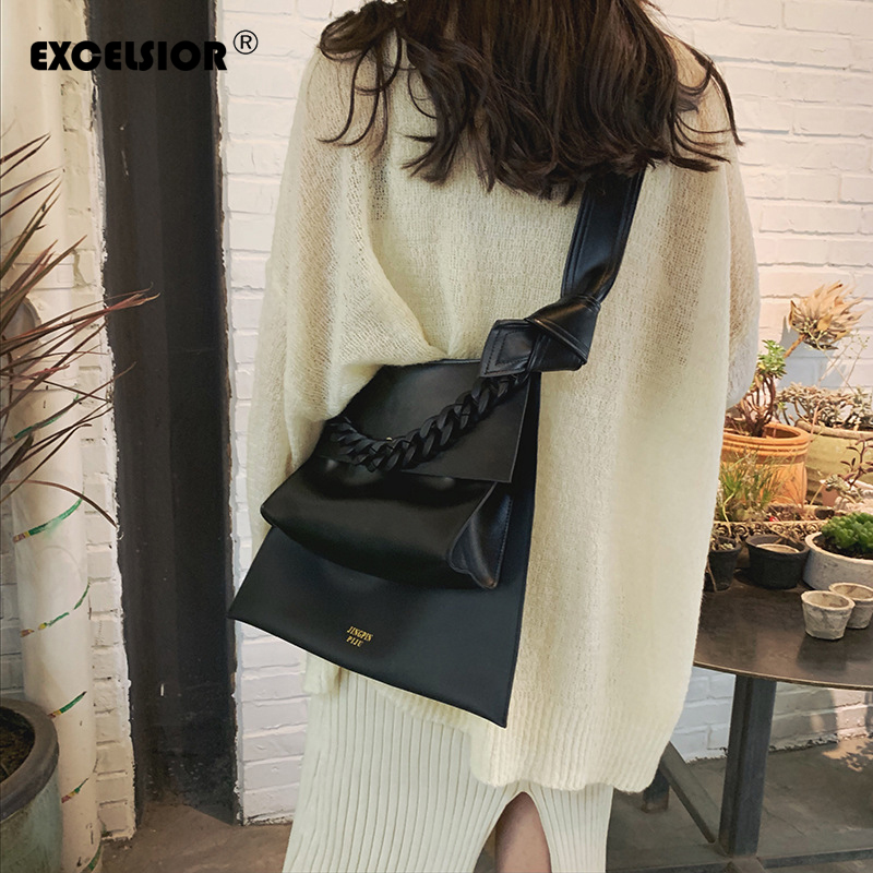 EXCELSIOR Women Handbag High Quality PU Crossbody Bags Solid Big Capacity Bag Women With Acrylic Handle Sac A Main Multi Use