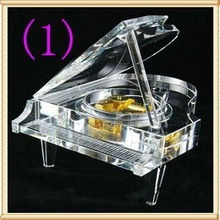 Free Shipping 1pcs/Lo14*12cm  K9 AAA crystal material Color crystal  music box creative birthday gift for family /friends