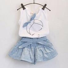 Baby Girl Dress Set Kids Girls Cute Bow Pattern Shirt Top Grid Shorts