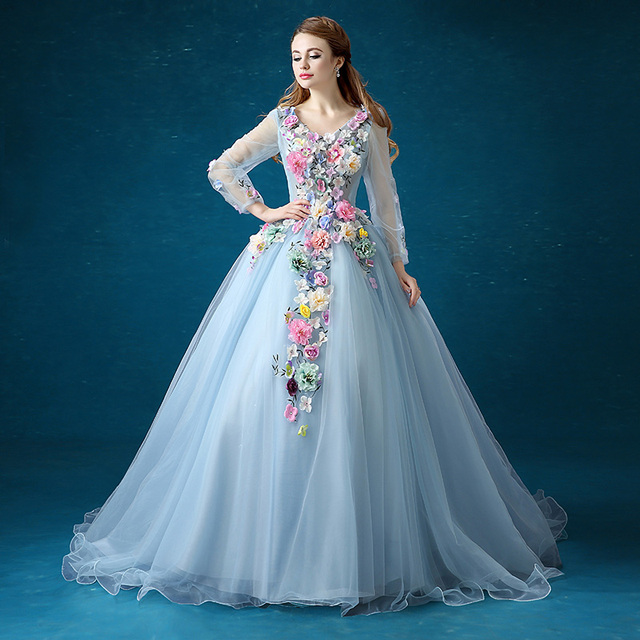 a8a4e6548a01 Donne dress top vendita blu organza periodo dress appliques ricamati  victorian dress