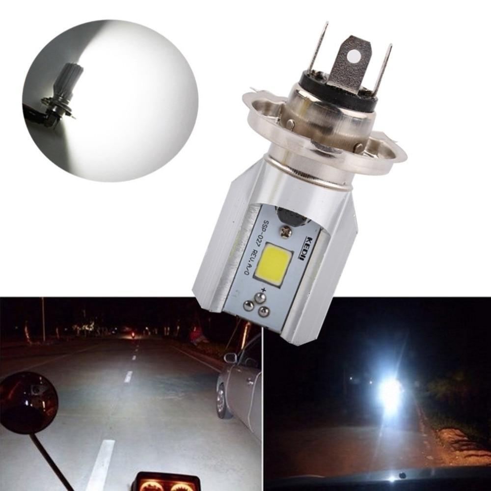 все цены на  1Pcs H4 Led Motorcycle Headlight Bulbs COB Led 1000LM H/L Lamp Scooter ATV Moto Accessories Fog Lights 6000K Xenon White  онлайн