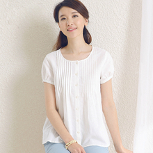 Woven Plus Size Woman Clothes Hot Sale O-neck Linen Cotton 2015 Summer New Womens Short-sleeved Blouses And Shirts