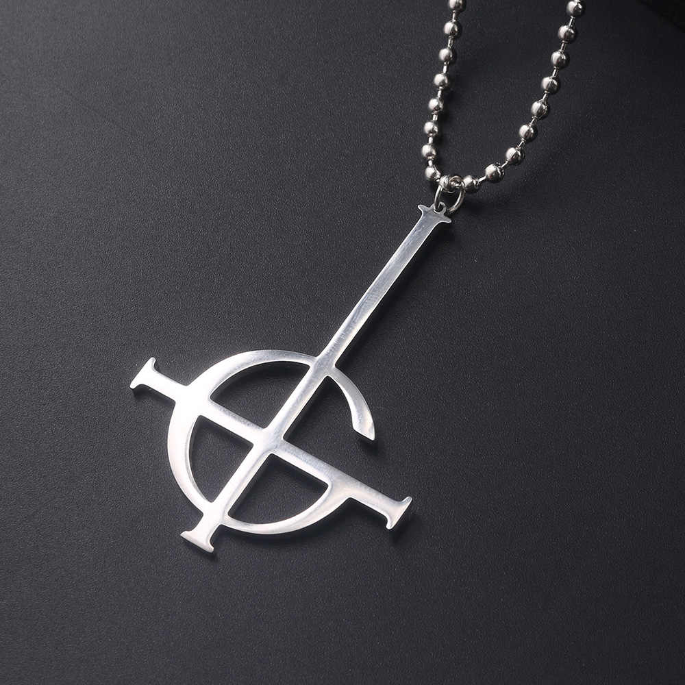 Ghost Nameless Fashion Ghouls Necklace Cosplay Ghost B.C RockRoll Band Inverted Cross Pendant Men's Punk Necklace