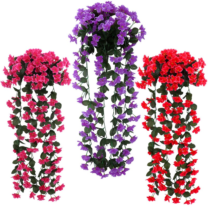 85cm Lifelike Violet Orchid Ivy Artificial Flower Hanging Plant Silk  Garland Vine For Home Decor 2